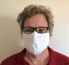 2 pack Extra Large Face Mask - Adult Unisex Cotton White Washable w/ free Strap