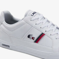 Lacoste Mens Europa TRI 1 White Navy Red Leather Trainers Sneakers 39SMA0031-407