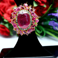 NATURAL 12 X 18 mm. RED RUBY SAPPHIRE & TOURMALINE BROOCH/PENDANT 925 SILVER