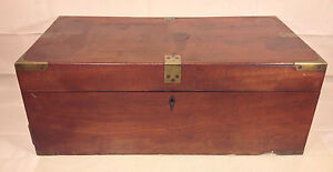 Antique Large Wood Lap Desk w/ Secret Bottom Drawer Brass Corner Pieces
