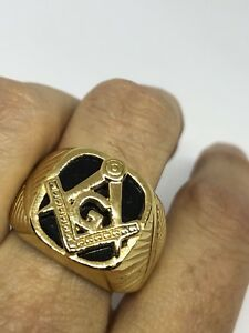 1980's Vintage Golden Stainless Steel Black Onyx Size 9 Men's Free Mason Ring
