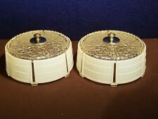 2 RARE VINTAGE CLEAR & WHITE GLASS ART DECO CEILING LIGHT SHADE GLOBES W/ PARTS