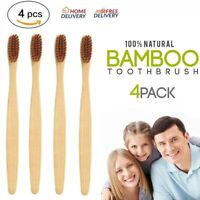4 PCS/Lot Adult Natural Bamboo Toothbrush Super Soft Black Bristles Oral Care