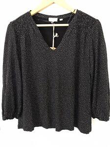 Fat Face UK Women's Shirt Blouse Cotton Blend Black White Spot Stretch Size 14 L