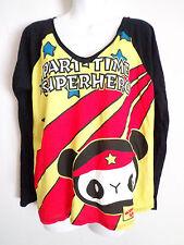 newbreed Girl party time super hero panda yellow v neck long sleeve top size S