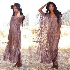 Maroon Silver Metallic FESTIVAL Hippie Boho FRINGE Deep V Caftan Sheer Dress