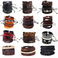 Valentine Gift Men Women Handmade Leather Bracelet Braided Bangle Wristband Set