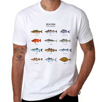 So many Fish Freshwater Printed T-shirt Men Short Sleeve Tops Cotton Tee shirts