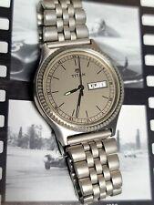 Vintage Titan Day-Date Men's Watch Fluted Bezel India Letters Calendar Rare