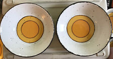 "2 Midwinter Stonehenge Sun Serving Bowl 8 3/4"" England Orange Yellow Circles"