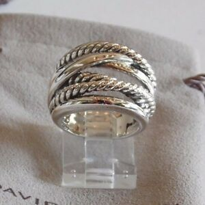David Yurman Wide CrossOver Sterling Silver Cable Band Ring Size 9 w/ Pouch