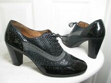 FRATELLI ROSSETTI WOMEN'S BLK PATENT LEATHER SNAKE SKIN HEELED OXFORDS 40½ US 10