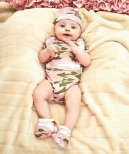 One Piece Outfit For Baby Girl Pink Camo 4 Piece Set Cap Booties Bib 9-12 Months
