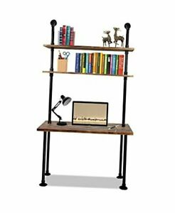 79-inch Industrial Laptop Desk Solid Wood Computer Desk Wall Pipe Desk with