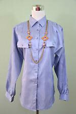 Sergio De Laurenti Vtg 80s Ladies Design Crepe Gloss Tailored Blouse Shirt M94