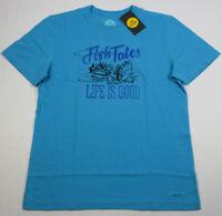 NWT Life is Good Men's Fish Tales Crusher Tee T-Shirt Bright Blue Medium M New