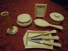 Vtg Lot Celluloid Vanity Dresser Jars Frame Vase Powder Box Hair Pyralin Dubarry