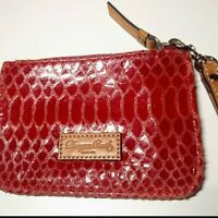 Authentic Dooney and Bourke red leather snake print wallet wristlet