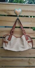 Fossil Large. Fabric Leather Satchel Handbag Shoulder Bag Purse EUC
