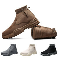Mens Warm Snow Casual Boots Winter Outdoor Fur-lined Ankle Hiking Slip on Shoes