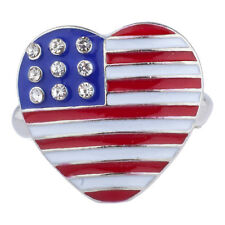 Lux Accessories Silver Tone American Flag Theme Heart Shaped Rhinestones Ring