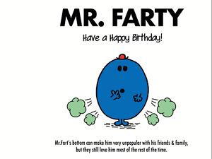 Funny Mr Men Birthday Card Mr Farty perfect for Dad, Boyfriend, Husband, Brother