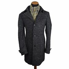 Mens Drykorn Wool Blend Coat Jacket Peacoat Black size 38-40 Grey Textured gr 50