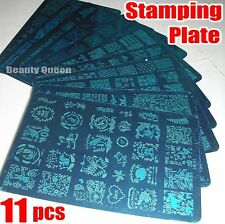 11pcs BIG Full French Nail Stamping Plate XL Stamp Image Print Disc Template NEW