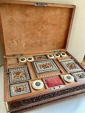 More details for antique anglo indian sandalwood  inlaid writing slope / fitted workbox