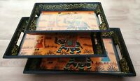 Serving Tray 3 Pcs set 12 Wooden handmade Procession painting work Floral Design