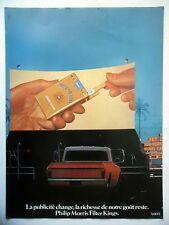 PUBLICITE-ADVERTISING :  PHILIP MORRIS Filter Kings  1977 Cigarettes,Drive-In