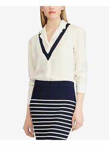New Ralph Lauren $125 Women's Cream Button Up Wear Top Size L