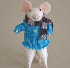 New Pin Felt Needle Felted Collectible White Mouse with Blue Jumper & Scarf