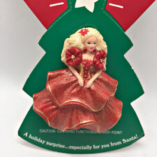 Christmas Barbie Pin Hallmark 1993 Holiday Red Dress Mint on Card Jewelry Brooch