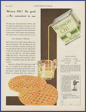 Vintage 1930 WESSON OIL For Waffles Kitchen Art Decor Print Ad 30's