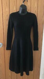 Boden Black Dress Long Sleeve in Wool