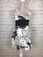 Womens QUIZ White Black Patterned Halterneck Ruched Mini Dress Size 10