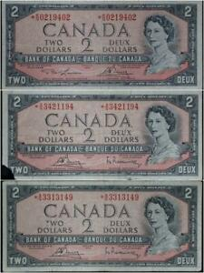 $2 1954 Bank of Canada Set of 3 Star Replacement Notes No Reserve .99C Open Bid