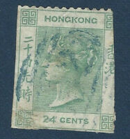 1865 HONG KONG CHINA 24c STAMP #18 WITH BLUE CANCEL, QUEEN VICTORIA