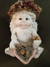 """White Pink 3 1/2"""" Sitting Dreamsicles Angel Figurine With Basket"""