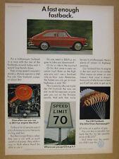 1967 VW Fastback red volkswagen car photo Speed Limit 70 sign vintage print Ad