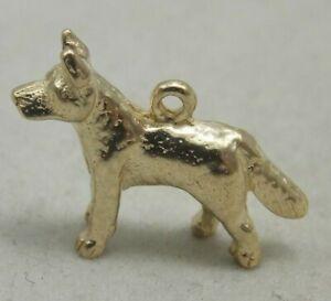 3D 9ct YELLOW GOLD ALSATION DOG CHARM