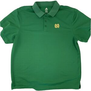 ADIDAS Notre Dame Fighting Irish Embroidered Logo Green Polo - Mens Sz. XL