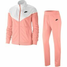 Nike Womens Girls Sportswear Fashion Lifestyle Tracksuit Track Suit Coral White