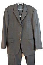 Enzo Mens Black 2pc Suit 42 R 100% Virgin Wool 3-button ITALIAN DESIGNER Stitch