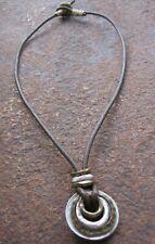 Herren Kette Ringe Herrenkette Halskette Vintage Surferschmuck neu Lederkette
