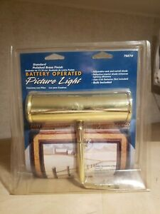 Cordless Picture Light Battery Operated Lamp Art Painting Picture Frame Brass #2