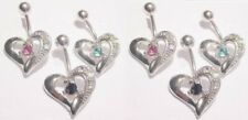 """Ring 14g 7/16"""" 316l Surgical Steel 4pc Pack Multi Gem Single Heart Belly"""