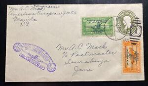 1932 Manila Philippines First Flight Cover To Soerabaja Netherlands Indies