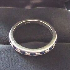 Tiffany & Co 950 Platino Diamante Zafiro Medio Banda Multi Anillo Tamaño P.
